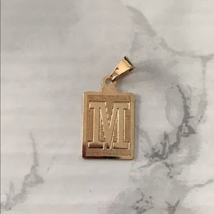 Stainless steel and gold dipped Letter M pendant